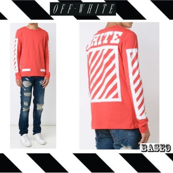 2016FW新作OFF-WHITE☆RED☆BRUSHED LONG TTEE 【関税送料込み】