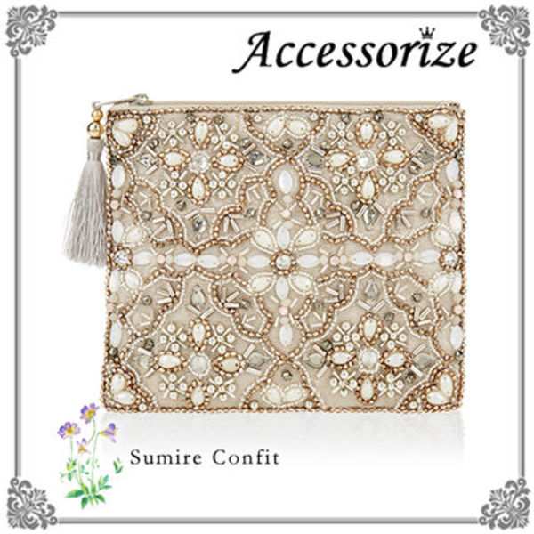 Accessorize 国内発送☆ヴィンテージ風 ビーズ刺繍ポーチ