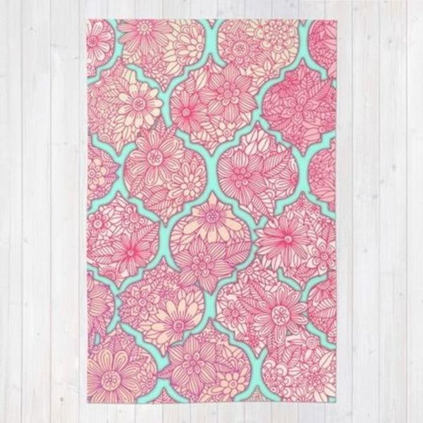 Society6★ラグマット★Moroccan Floral◆L:122.0cm × 183.0cm