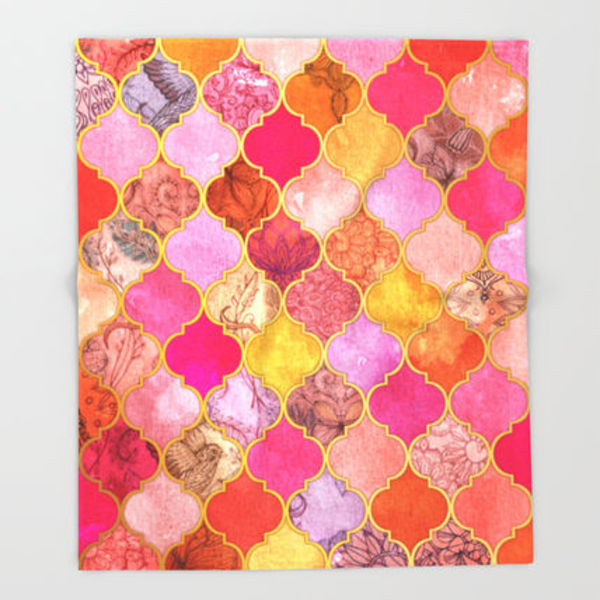 Society6★ブランケット★Hot Pink, Gold, Tangerine & Taupe D