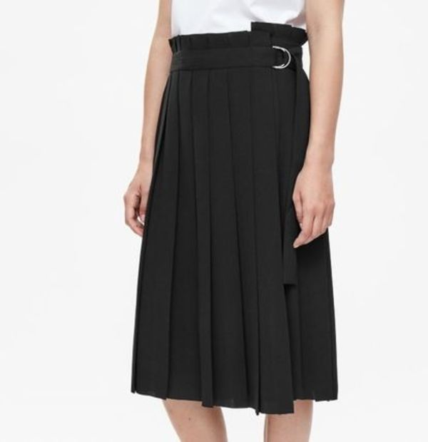 """COS""PLEATED WRAP SKIRT BLACK"
