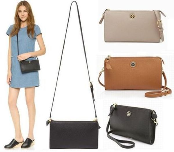 国内在庫有り!Tory Burch ROBINSON PEBBLED WALLET CROSS-BODY