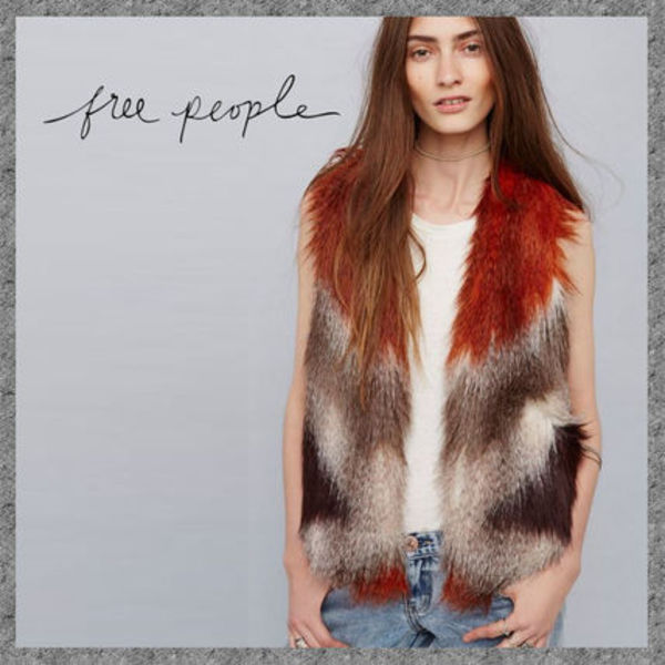 SALE◆Free People Pattern Faux Fur Vest