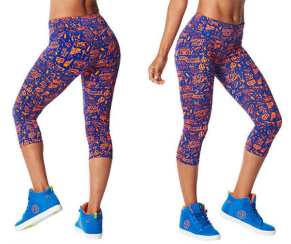 新作♪ZUMBA City Swag Perfect Capri Leggings-Surfs Up Blue