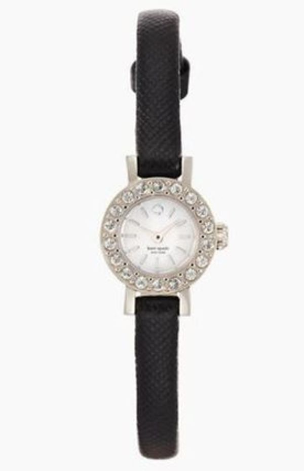 KATE SPADE NEW YORK★Pierre Pave Watch with Leather Strap