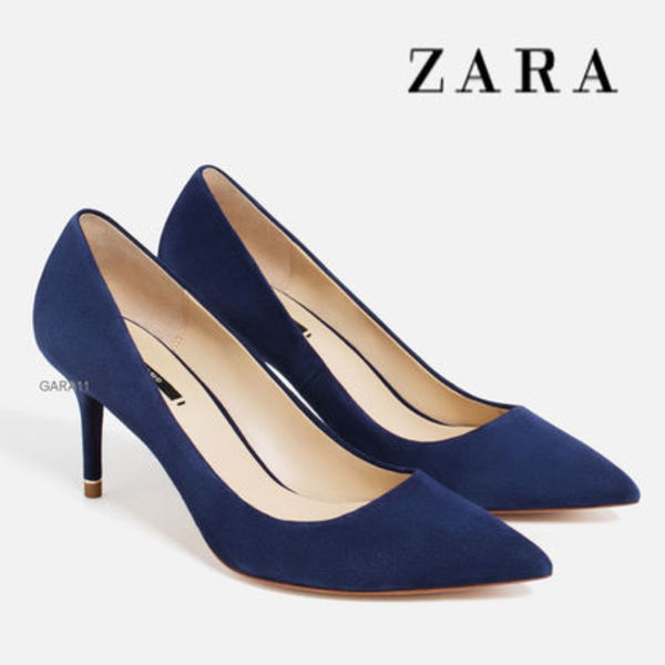 ●ZARA●夏新作♪LEATHER MID HEEL SHOES♪Blue