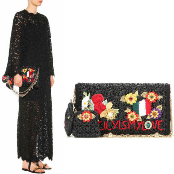 16SS DG461 'ROSA' RAFFIA BAG WITH EMBROIDERY & APPLIQUES