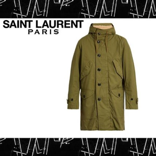 Saint Laurent (サンローラン) Cotton canvas hooded parka coat