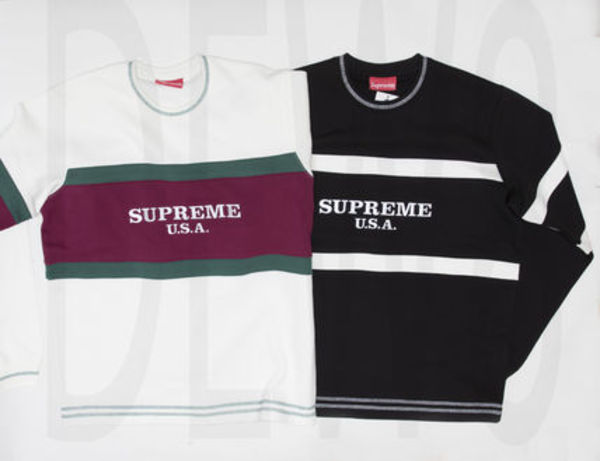 SUPREME16AW Center Stripe Crewneck シュプリーム