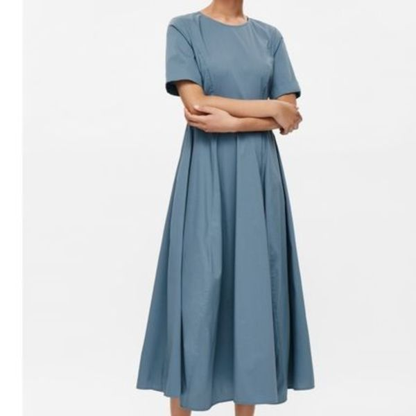 """COS""FLARED COTTON DRESS PALETEAL"