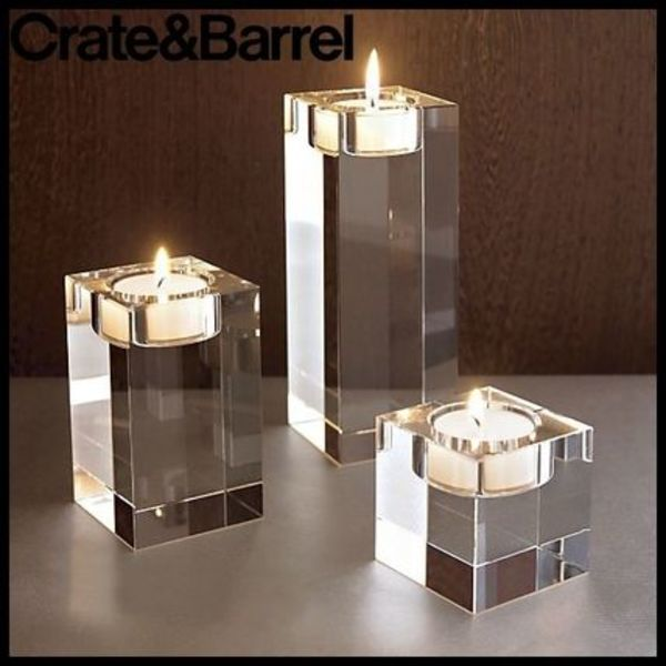 ハロウィン Crate & Barrel Oslo Crystal Candle Holders 3set