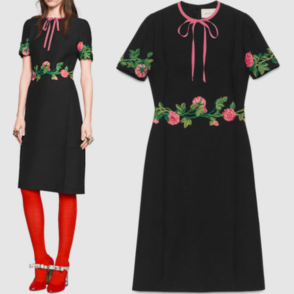 16-17AW WG185 LOOK31 FLORAL EMBROIDERY WOOL & SILK DRESS