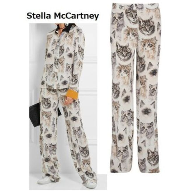 Stella McCartney★ Cat print シルクパンツ