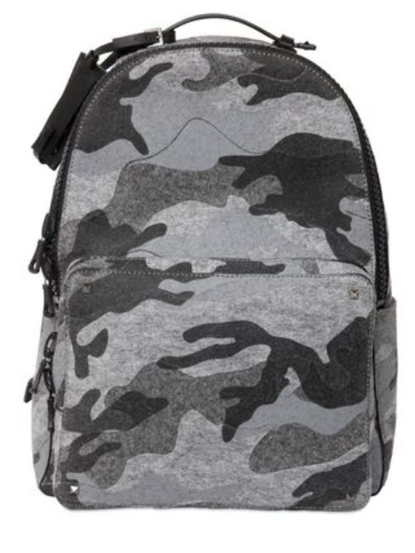 ヴァレンティノ CAMOUFLAGE PRINTED COTTON FELT BACKPACK