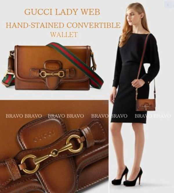 GUCCI★セール★LADY WEB HAND-STAINED LEATHER WALLET