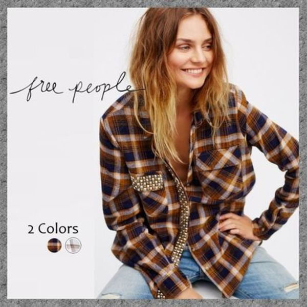 大人ハンサム◆Free People Erin's Studded Plaid Shirt◆送料込