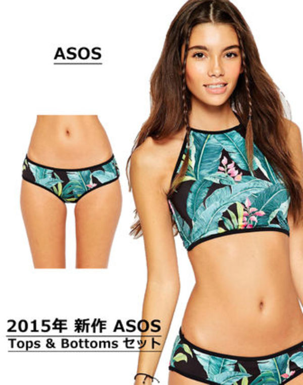 2015新作 ★ASOS Bikiniセット★ Palm Tops&Bottoms Green ②