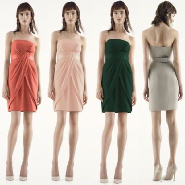 セール送料&関税込★Vera Wang Short Strapless Crepe Dress14色