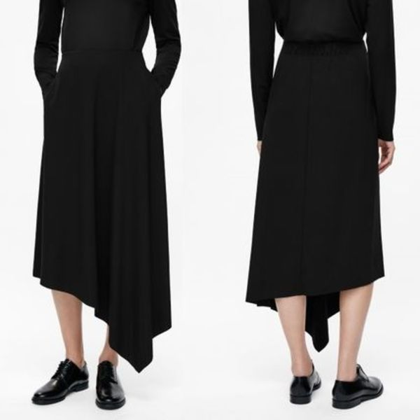 """COS""ASYMMETRIC JERSEY SKIRT BLACK"