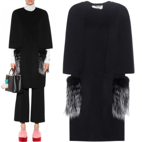 FE1084 FOX FUR PANELLED CASHMERE CAPE COAT