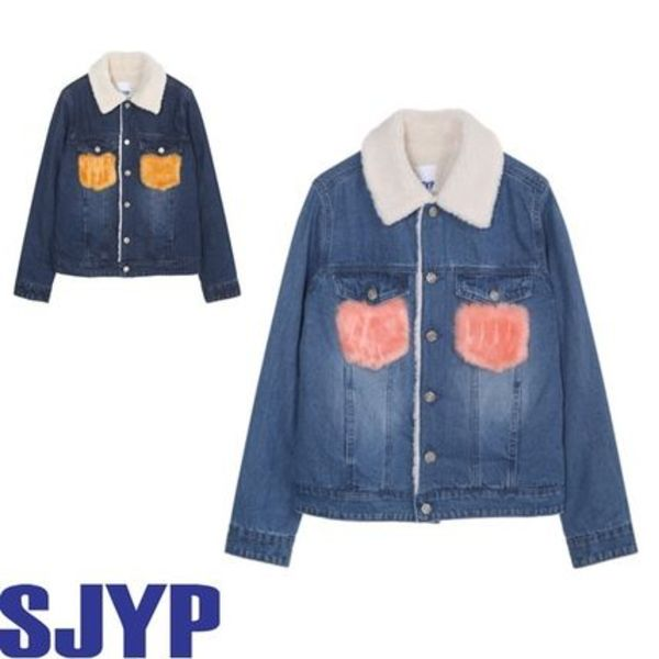 SJYP_正規品 Denim jacket w.fur pocket 2色/日本未入荷