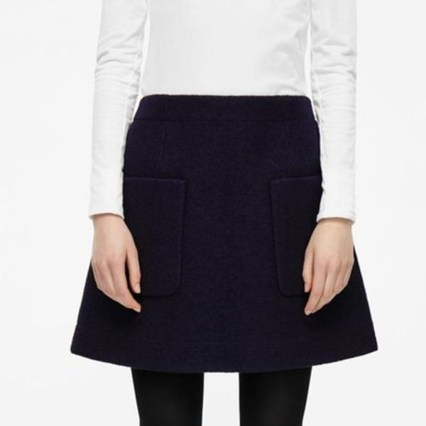 """COS""A-LINE WOOL SKIRT Navy"