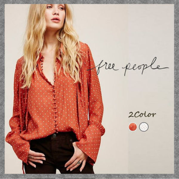 2色◆水玉ブラウス◆Free People◆Modern Muse Dotted Blouse