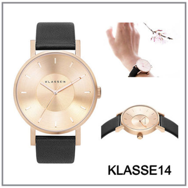 関税・送料込《KLASSE14》VOLARE ROSE GOLD BLACK LEATHER 42㎜