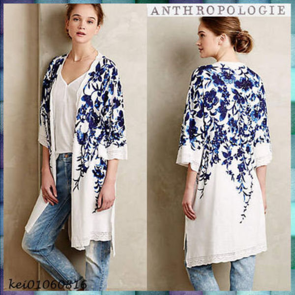 送料込【Anthropologie】Hanging Vines Cardigan★Blue Motif