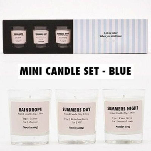韓国★SOOHYANG★MINI CANDLE SET -  BLUE★キャンドル30g×3個