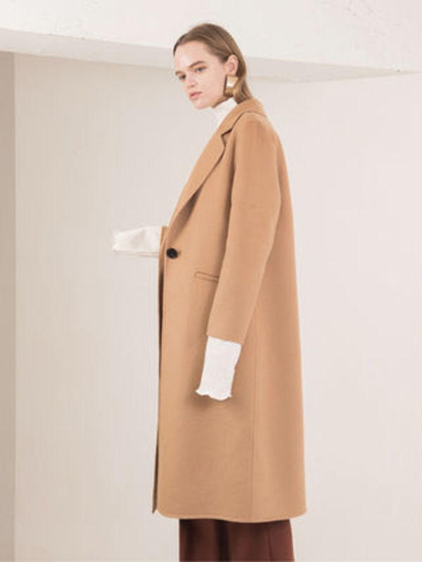 SINGLE BUTTON HAND MADE COAT BEIGE