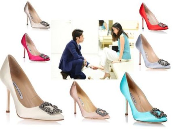 【国内発】女性の憧れManolo Blahnik◆Hangisi satin pumps