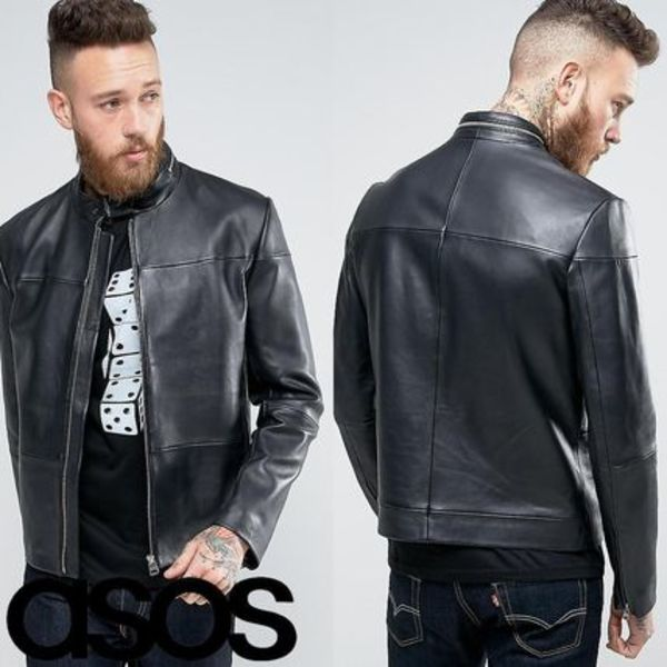 HUGO by Hugo Boss Lefox Leather Biker Jacket Slim Fit