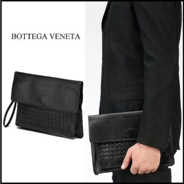 2015秋冬☆Bottega Veneta☆PORTE-DOCUMENTSクラッチバッグ NERO