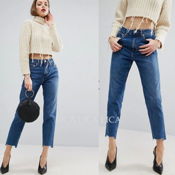 国内発送ASOS ORIGINAL MOM Jeans in Hailee Darkwash