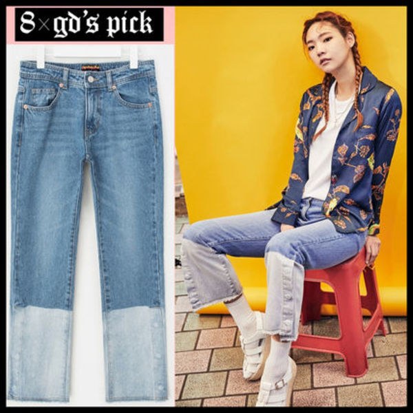 [8 X GD's PICK/DHL安心発送]TWO TONE SLIT DENIM PANTSジーパン