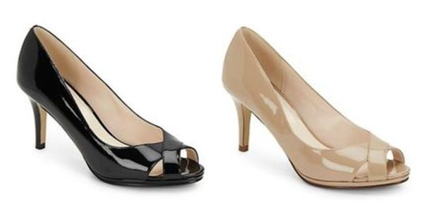 セール!  Cole Haan Lena Patent Leather Peep-Toe Pumps /2色