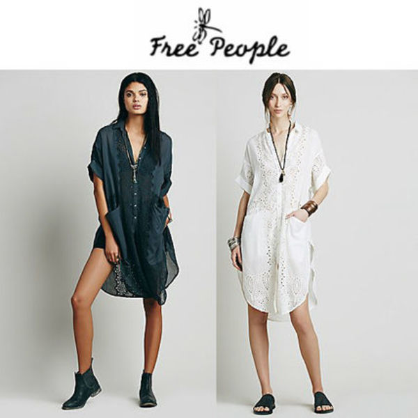 送関込★Free People★Swing Your Eyelet Round Buttondown