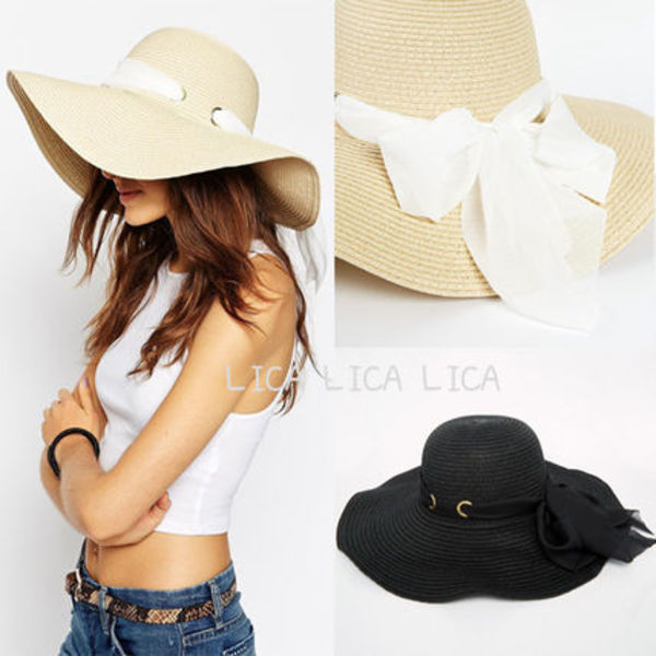 Straw Floppy Hat With Eyelet Detail