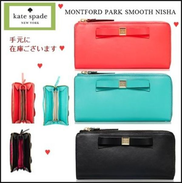【Kate Spade】★リボン長財布 3色montford park smooth nisha