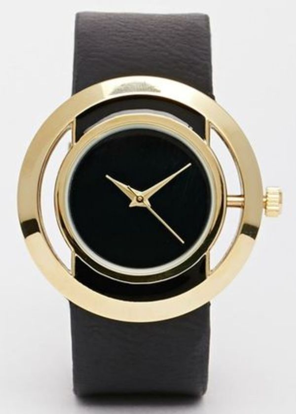 (送料無料)Open Circle Black Face Watch