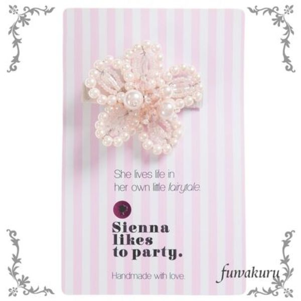【Sienna likes to party】ピンクフラワーヘアリップ(5cm)