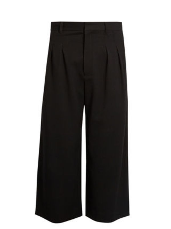 Pleated wide-leg cropped trousers ワイドクロップドパンツ