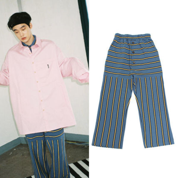 ★AJO AJOBYAJO★17ss Stripe Long Pants (Blue) ユニセックス