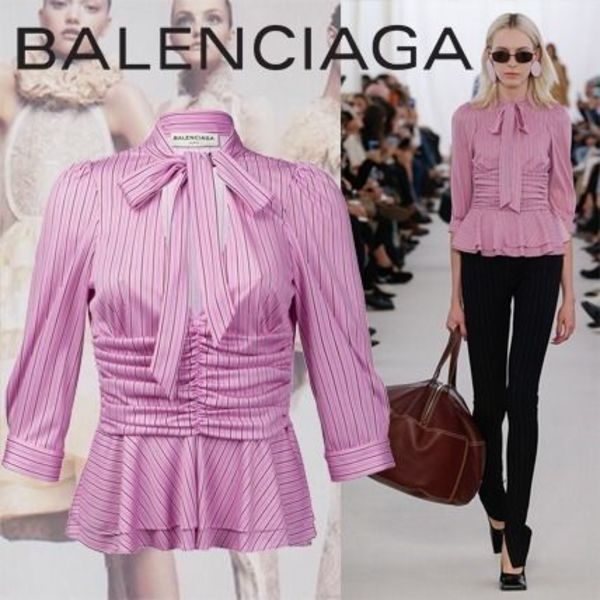 BALENCIAGA Pleated Pink Blouse With Stripes Print