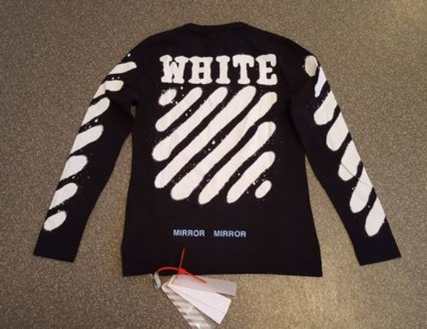 【在庫あり】OFF WHITE Spray-effect ロンT BLACK