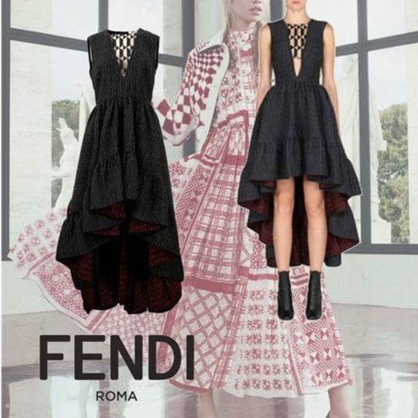 FENDI High Low Plunging Gown