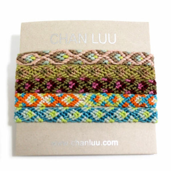 CHAN LUU/Cotton Friendship Bracelets 5本セット Taupe Combo