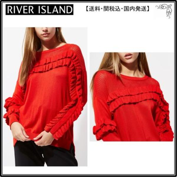 【海外限定】RiverIslandセーター☆Red knit frill front jumper