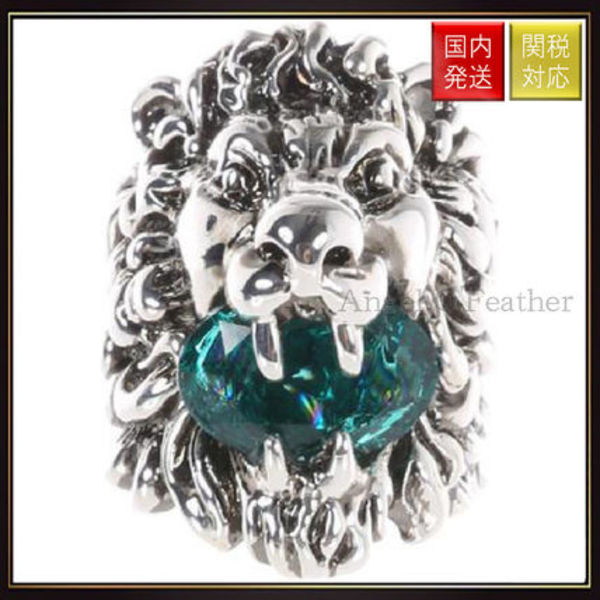 【グッチ】Lion Head Ring With Crystal リング